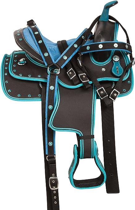 """New Black western Synthetic treeless Horse saddle 15/"""" 16/"""" /& 17/""""18/'/'"""