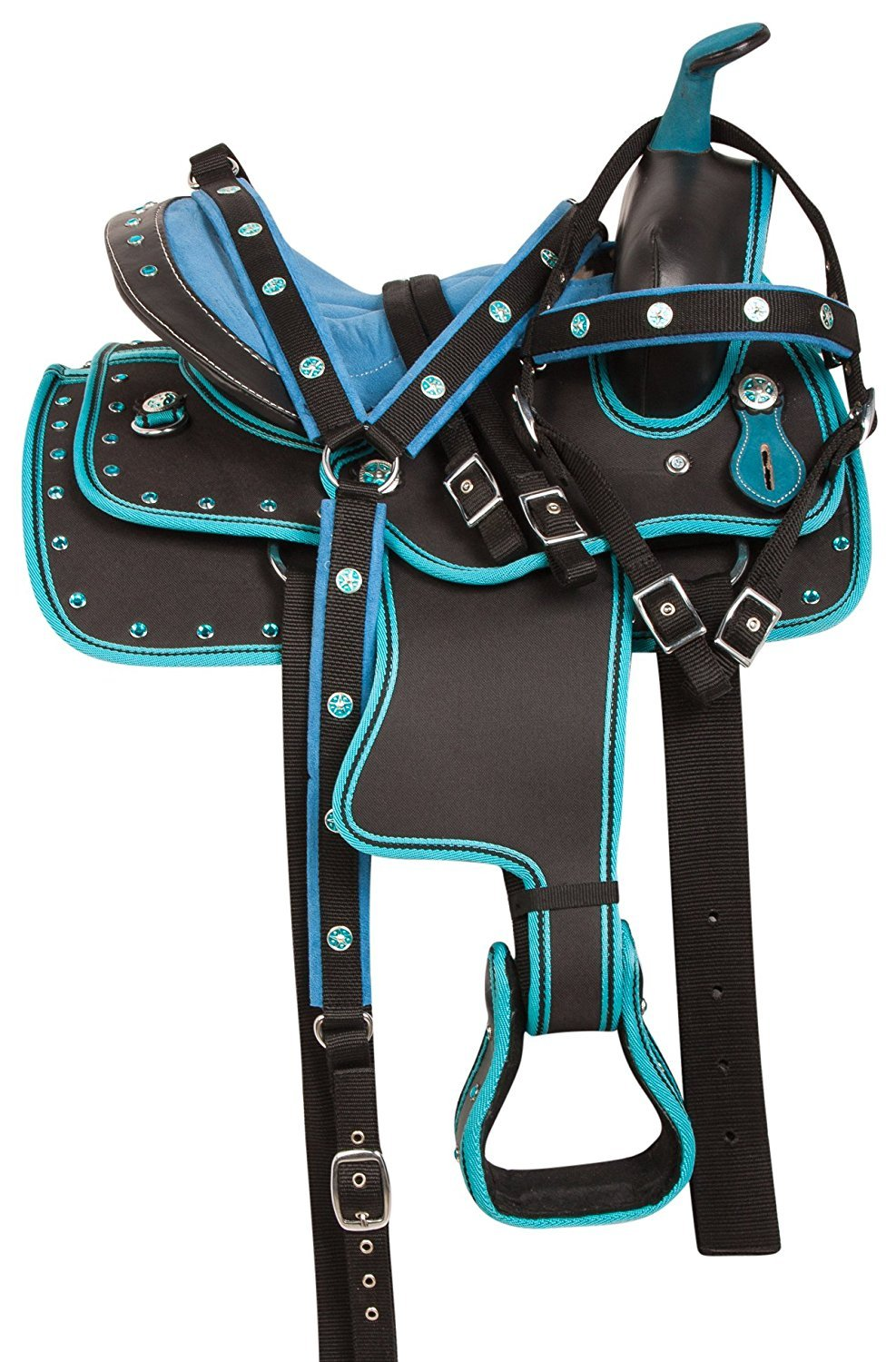 bluee 16 Inch SeatManaal Enterprises Synthetic Western Horse Saddle Barrel Racing Tack + Headstall, Breast Collar Size 15  to 18  Inch Seat Available