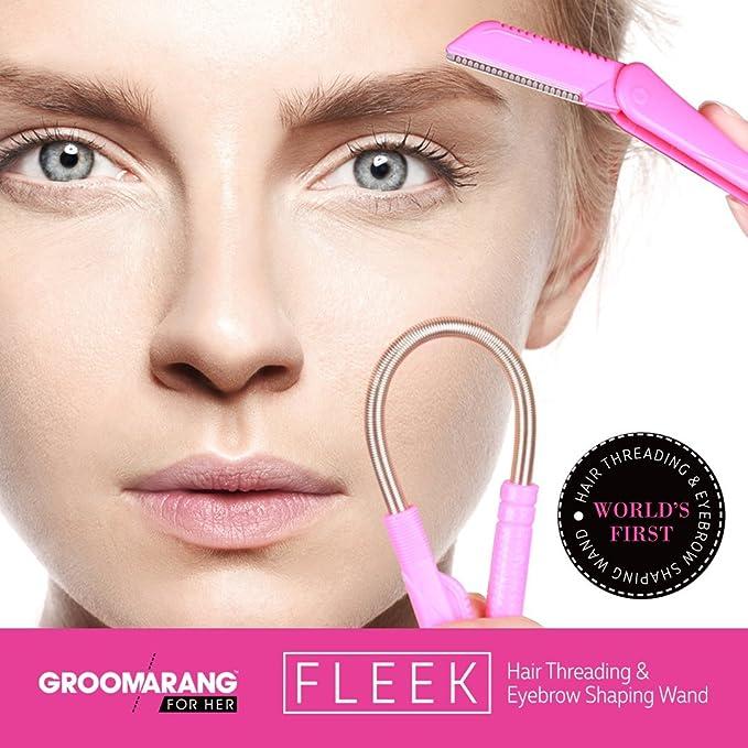 groomarang Fleek Kit de vello facial depiladora varita para eliminar vello facial Cejas Razor Trimmer dermaplaning: Amazon.es: Salud y cuidado personal