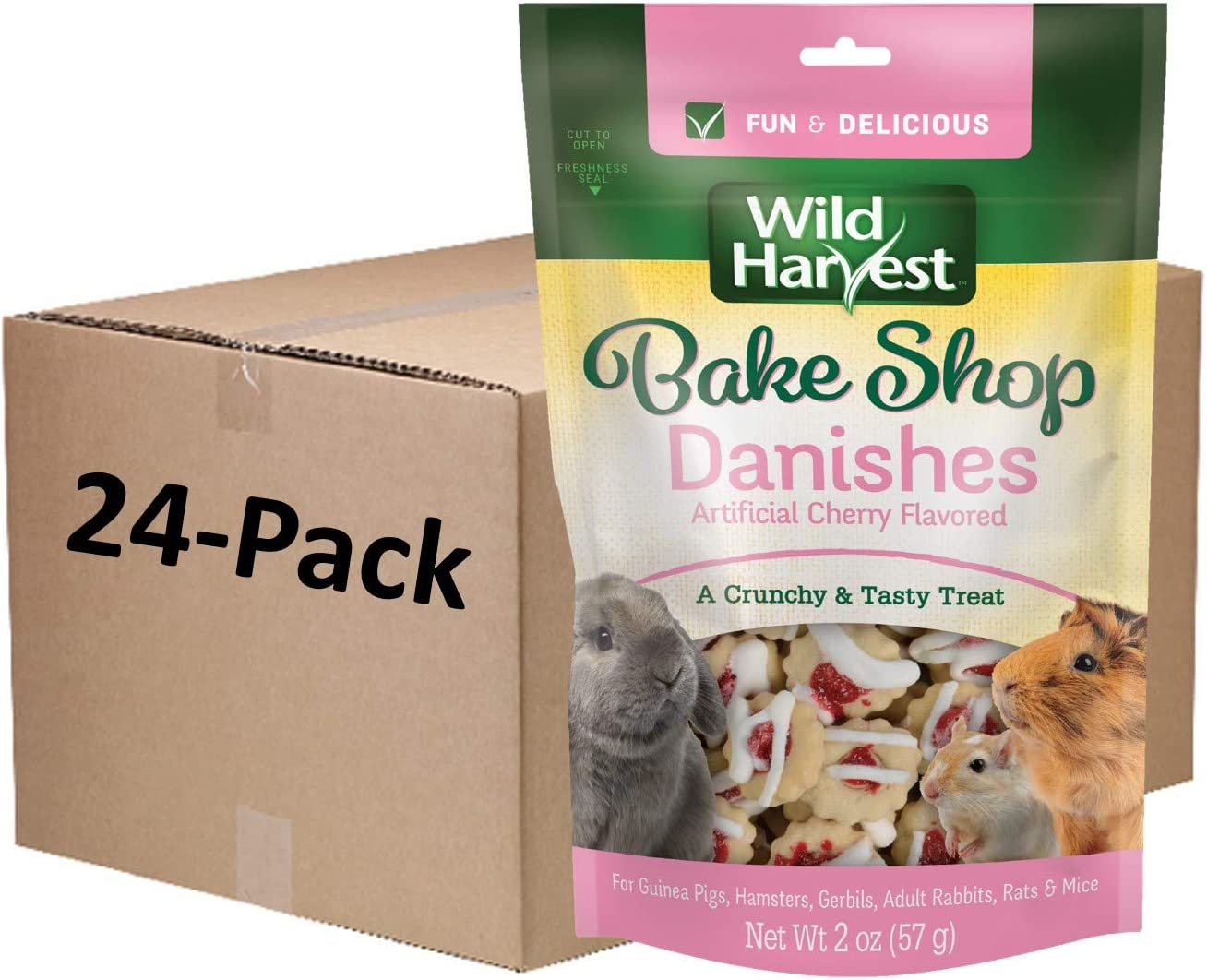 Wild Harvest Bake Shop Danishes 2 Ounces, Artificial Cherry Flavored, Treats for Guinea Pigs, Hamsters, Gerbils, Adult Rabbits and More (1 CASE of 24 Individual Packs of 2 Ounce)