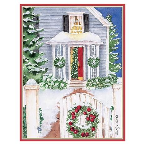 Amazoncom Caspari Open Gate And Wreath Large Boxed Christmas Cards