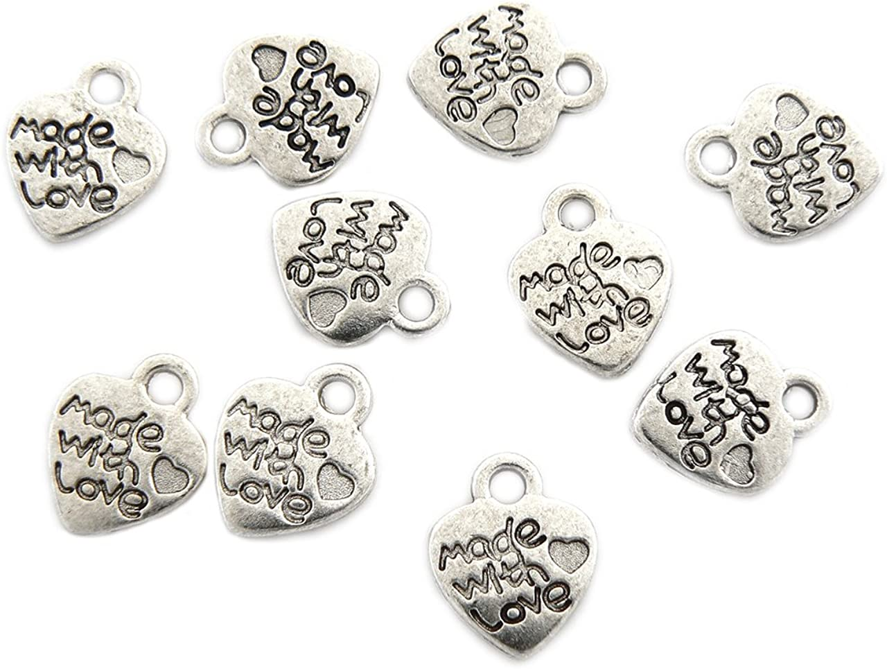10 silver plated heart charms