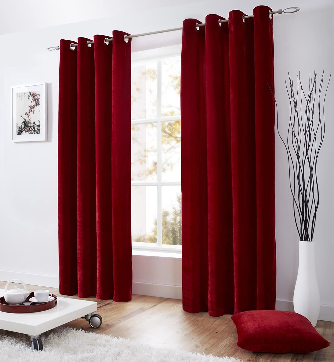 Red velvet window curtains - Ring Top Eyelet Lined Velvet Curtains 58 Wide X 90 Drop Red Amazon Co Uk Kitchen Home