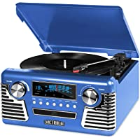 Victrola 50's Retro 3-Speed Bluetooth Turntable with Stereo, CD Player and Speakers (Blue)