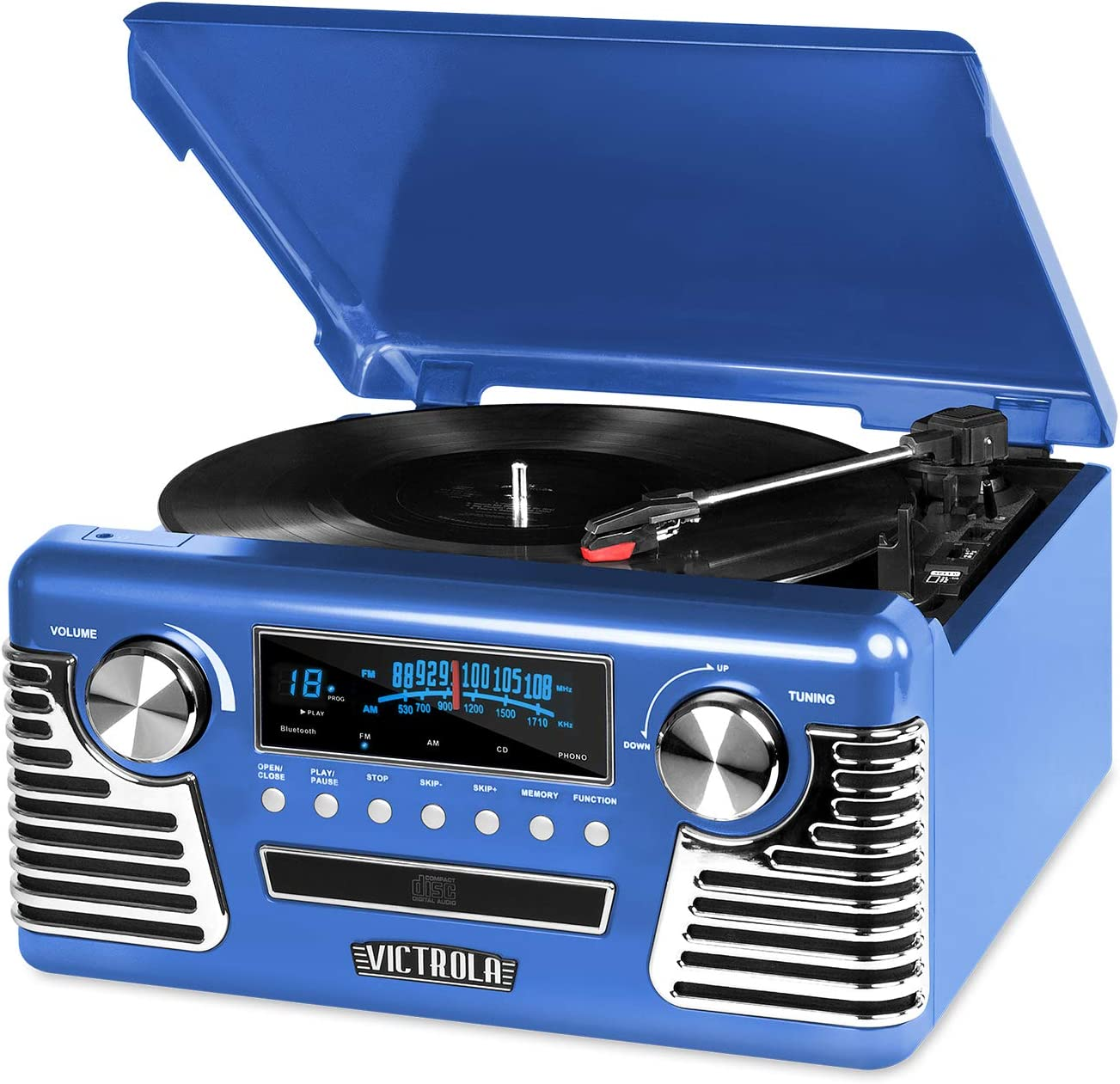 Victrola 50's Retro Bluetooth Record Player & Multimedia Center with Built-in Speakers - 3-Speed Turntable, CD Player, AM/FM Radio | Vinyl to MP3 Recording | Wireless Music Streaming | Blue