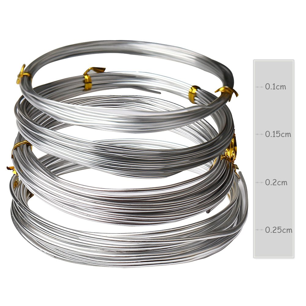Amazon.com: Hugesavings 4 Rolls Aluminum Craft Wire, 4 Sizes Silver ...