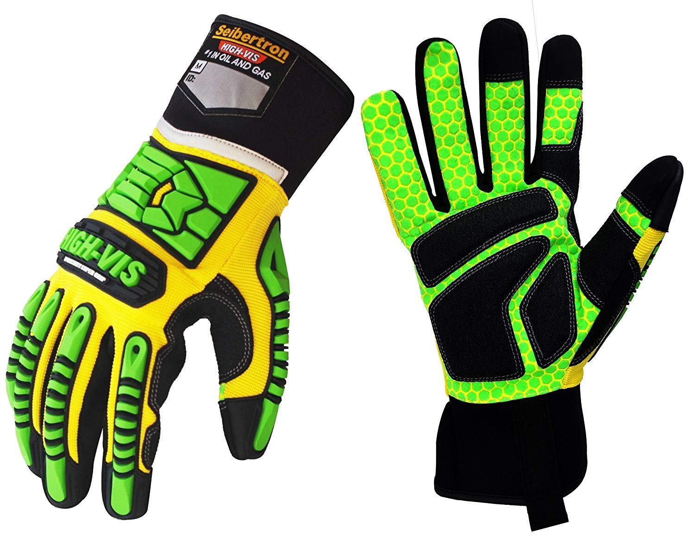 Seibertron HIGH-VIS SDXG2 Dexterity Super Grip GEL Oil & Gas Anti-Vibration Impact Protection Safety Gloves CE EN388 4131 S