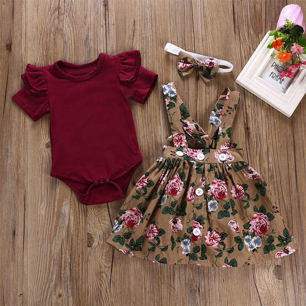 Overall Skirt AUPUMI Baby Girls Romper Newborn Cloth Kids Jumpsuit Infant Playsuit Toddler Clothes Outfits Headband Set