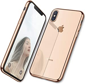 DTTO iPhone Xs Max Case, Slim Fit Clear Soft TPU Cover Case with Metal Luster Edge for Apple iPhone Xs Max 6.5 Inch (2018 Released)- Gold