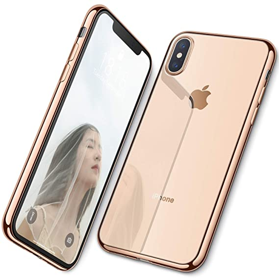 info for 585ee 3be37 DTTO Case for iPhone Xs Max, [Lightening Series] Clear Stylish Flexible  Case with Metal Luster Edge for Apple iPhone Xs Max 6.5 Inch (2018  Released) - ...