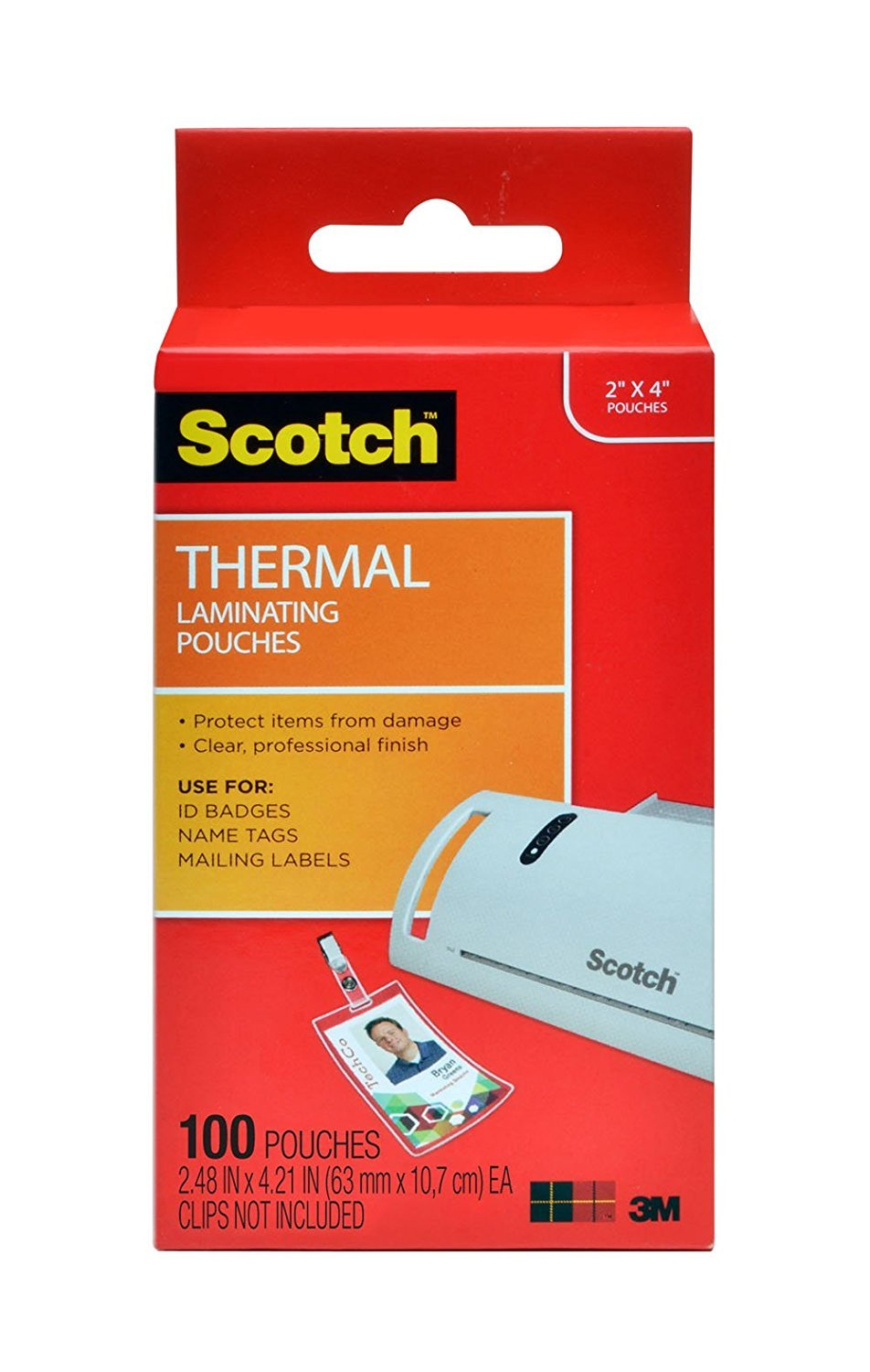 Scotch Thermal Laminating Pouches ID Badge With Clip, 2.4 Inches x 4.2 Inches, 10 Pouches (TP5852-10) 500-Pouches by Scotch