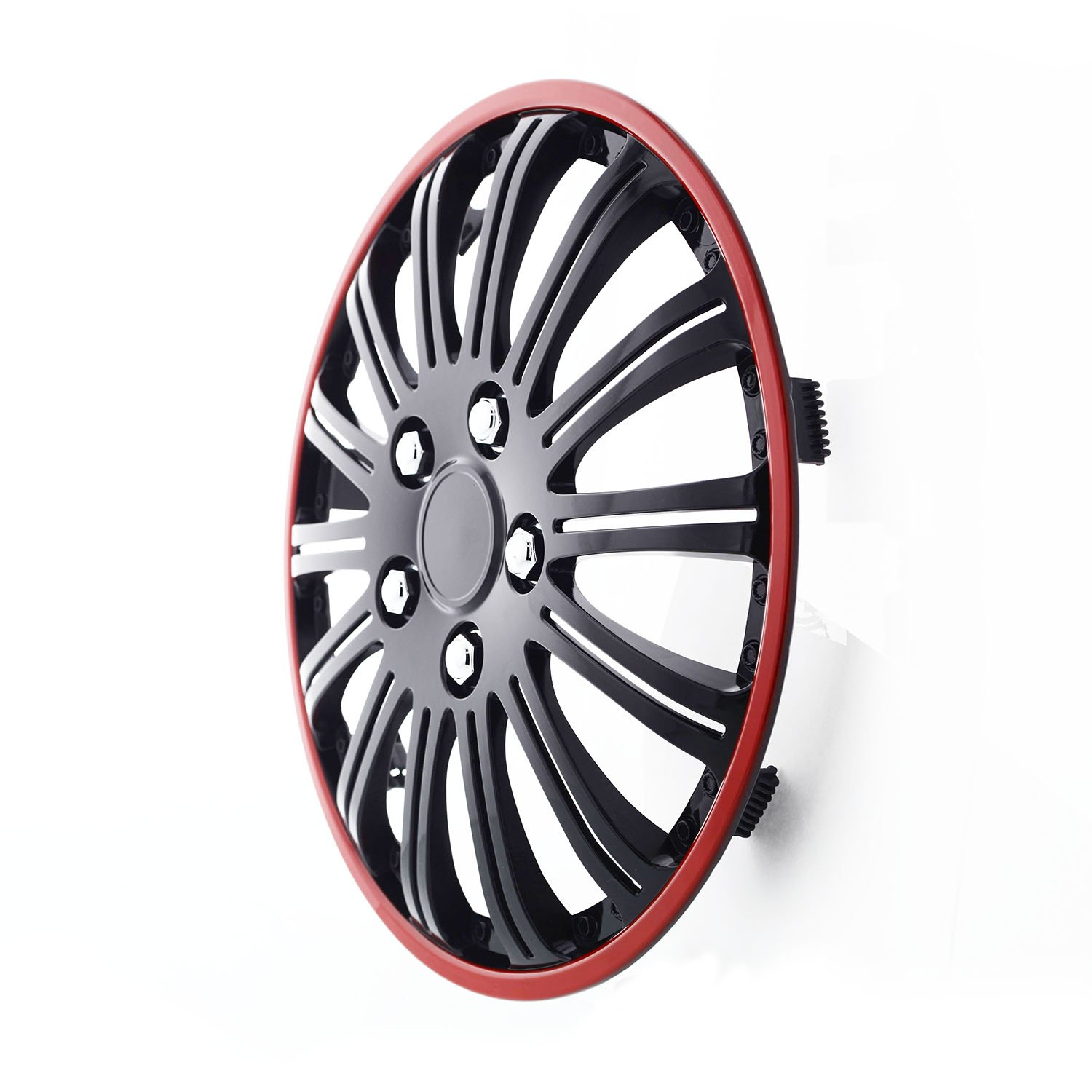 Pilot Automotive WH527-15RE-BX Cobra Black Chrome 15 Wheel Cover with Red Accent, Set of 4