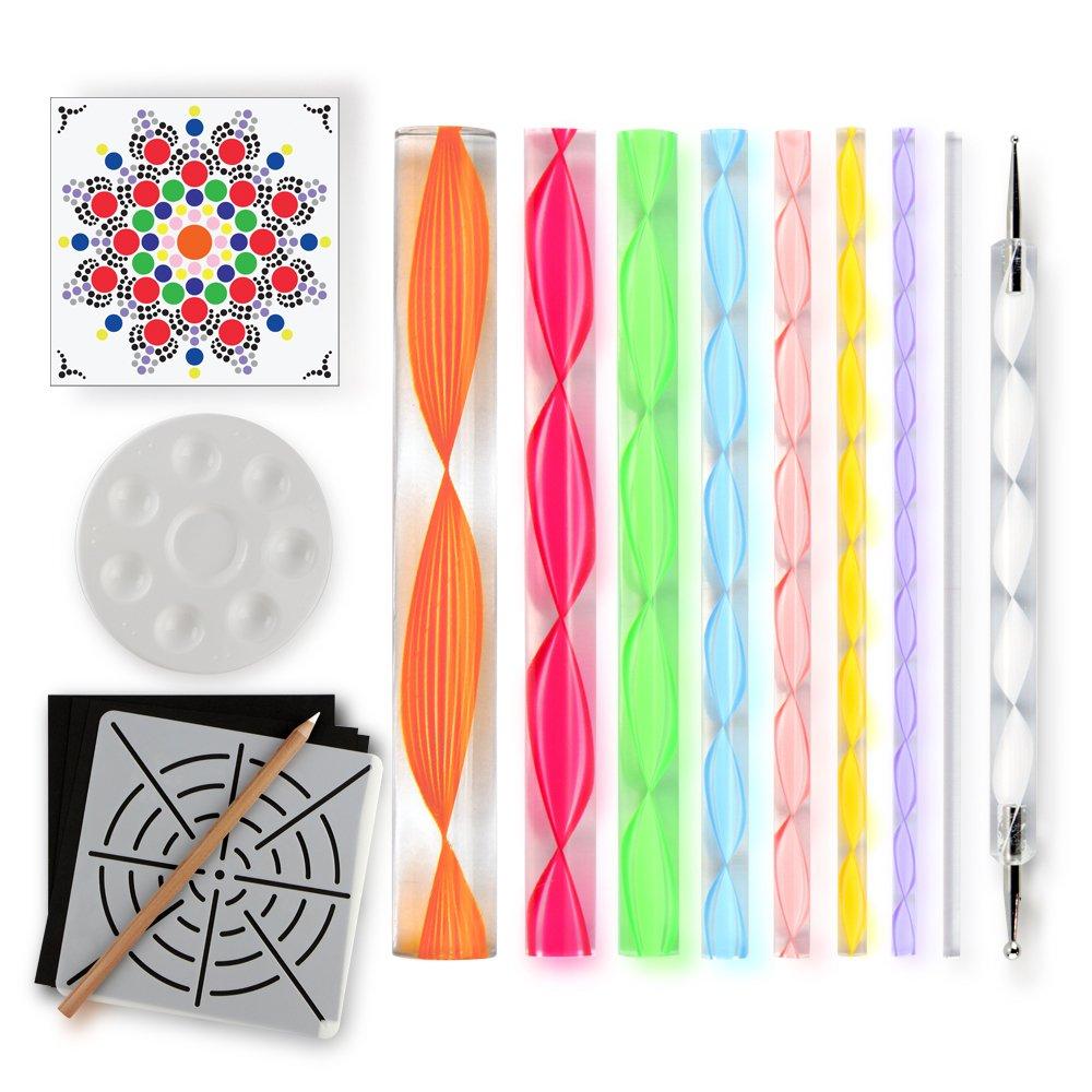 Mandala Dotting Tools for Painting Rocks – Plus Stencil, White Pencil, Paint Tray, Pattern