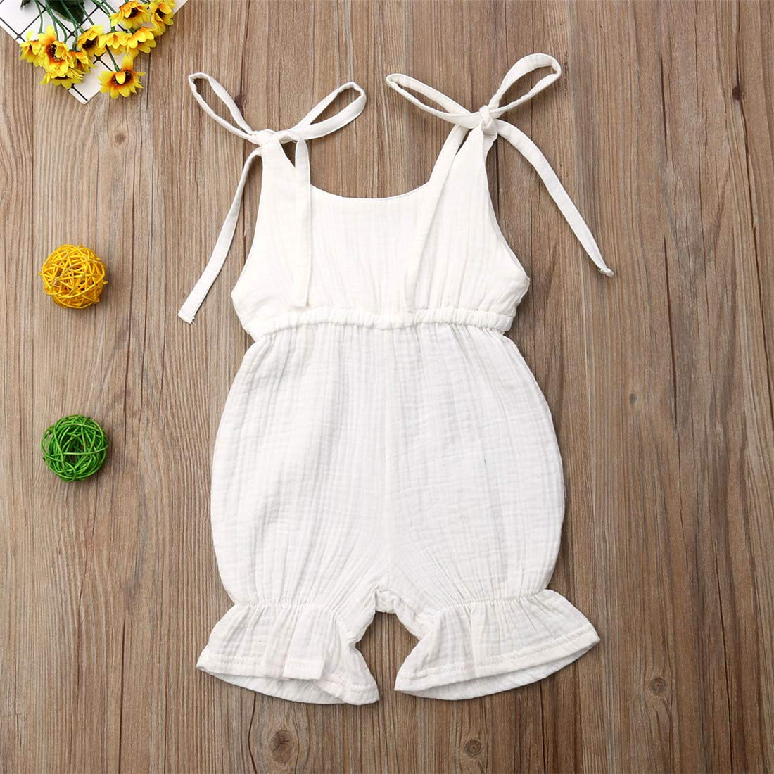 FUFUCAILLM Infant Toddler Baby Girl Cotton Romper Solid Sleeveless Ruffle Short Pants Jumpsuit Overall Outfit Clothes