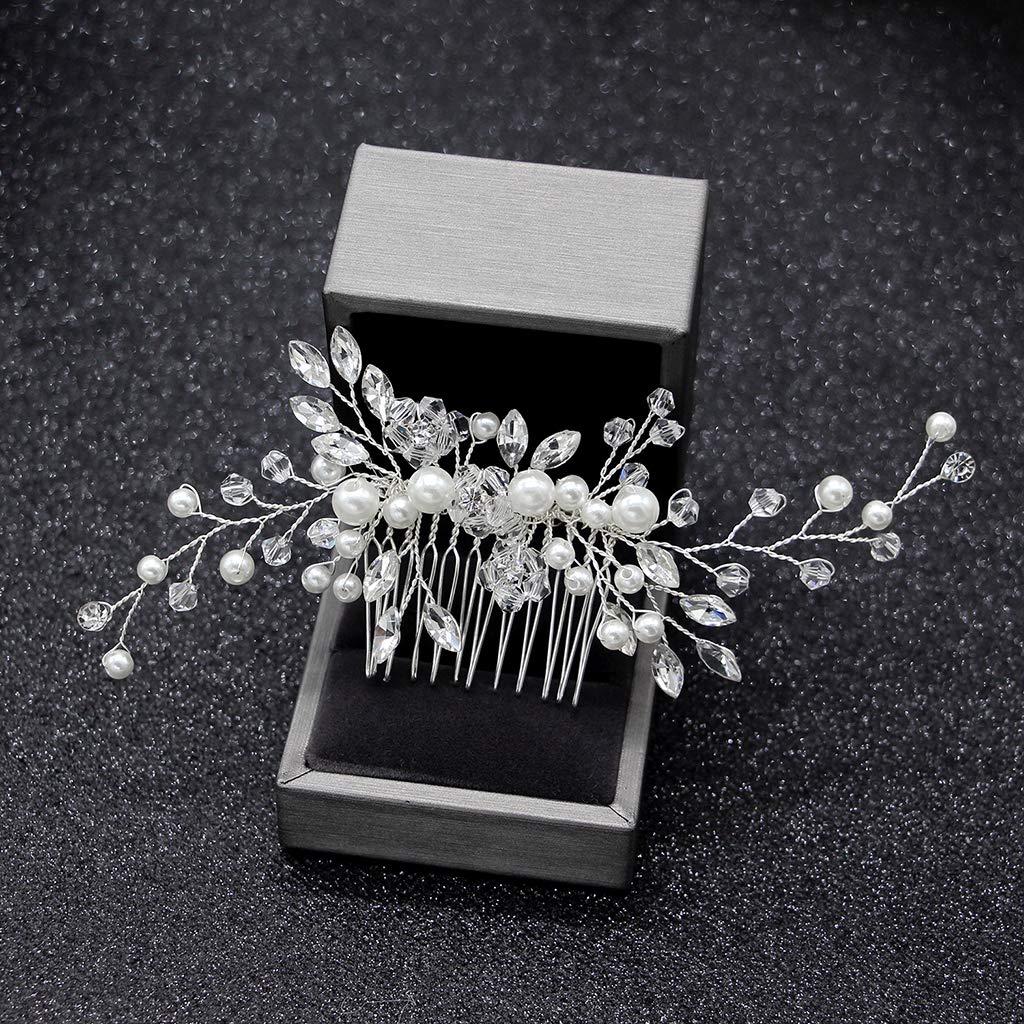 Kristall Perlen Frauen Haarschmuck Hochzeit Haar Kamm Braut Kopfschmuck FaJ/_ju