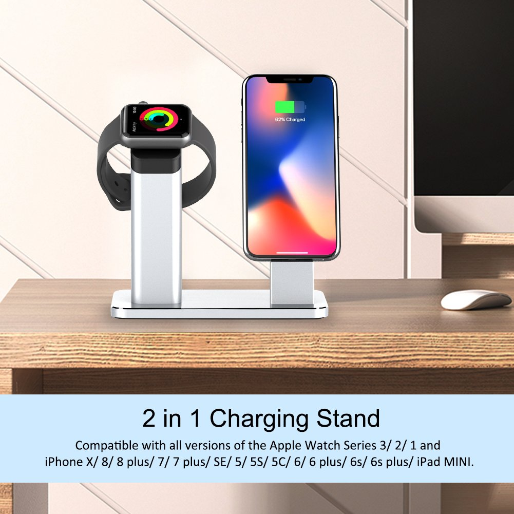 Yootech Apple Watch Stand, 2 in 1 Charging Dock Apple Watch Series 3/2/1, iPhone X/8/8Plus/7/7Plus/6s/6s Plus, Silver Aluminum Stand Holder iPhone Apple Watch(Silver) by yootech (Image #2)