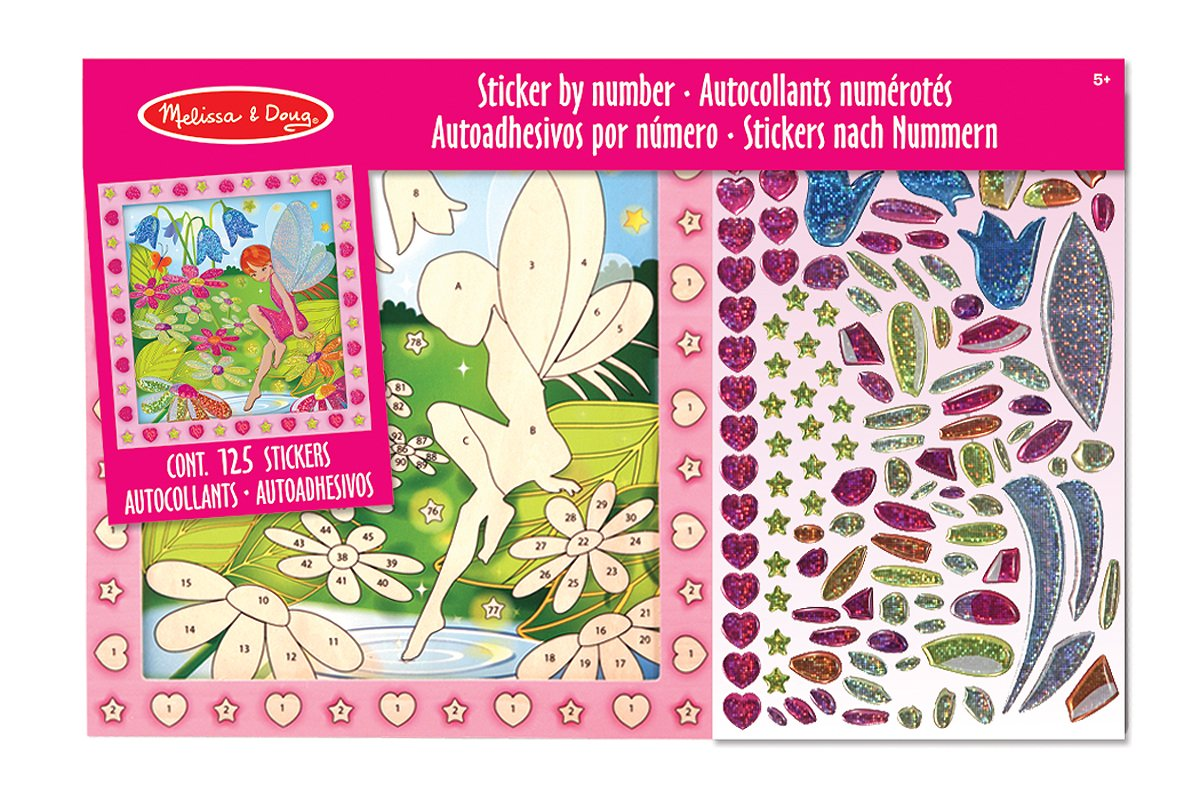Melissa & Doug Peel and Press Sticker by Number Activity Kit: Flower Garden Fairy 14299