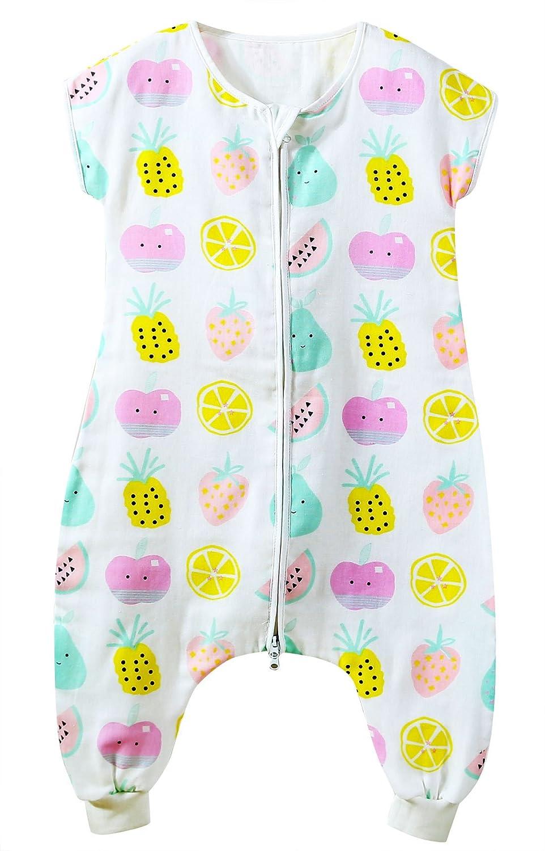 FEOYA Gigoteuse à Pied Bébé Manches Courtes Combinaison Fille Garçon Douillette Coton Pyjama Sac de Couchage Eté - 6-36 Mois