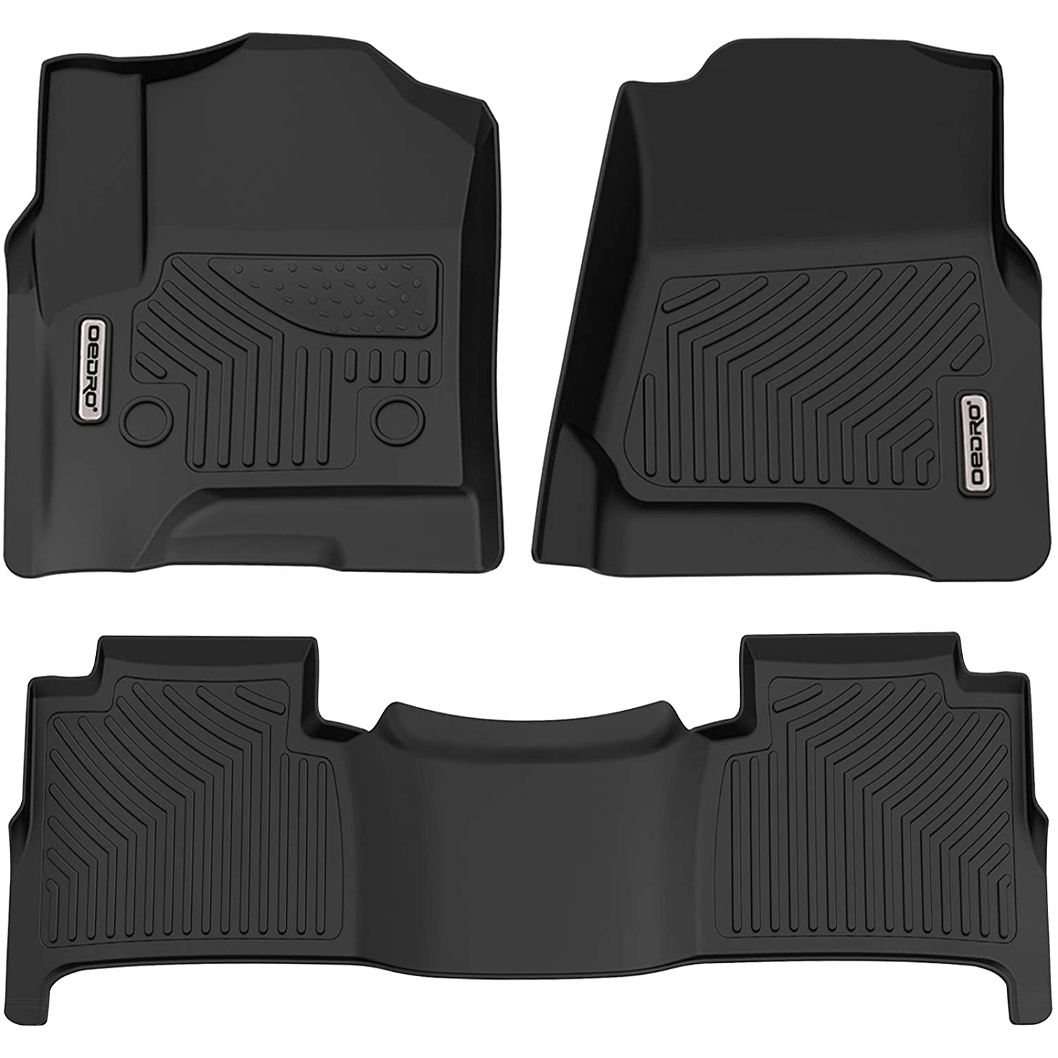 Full Set Liners Unique Black TPE All-Weather Guard Includes 1st and 2nd Row oEdRo Floor Mats Compatible for 2015-2019 Chevrolet Tahoe//GMC Yukon