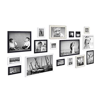 Amazon De Photolini 17er Set Bilderrahmen Fur Grosse Bilderwand