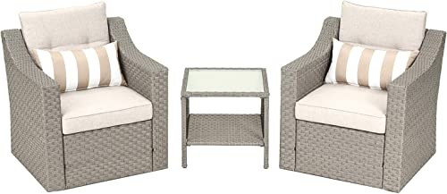 SOLAURA Patio Outdoor 3-Piece Furniture Set Gray Wicker Sofa with Glass-Top Coffee Side Table Seat Cushions