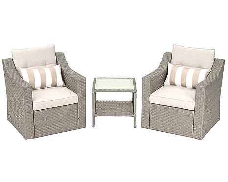 Amazon.com: SOLAURA Patio Outdoor - Juego de muebles de ...