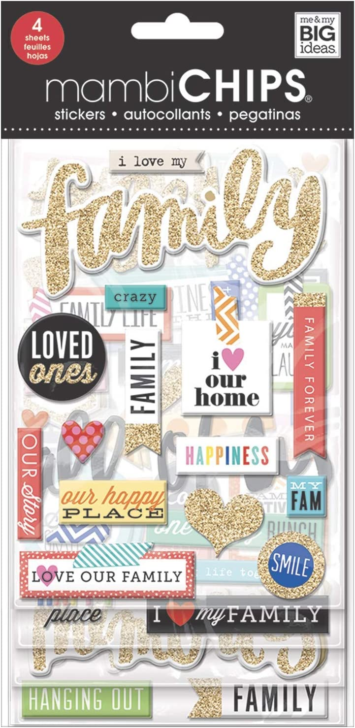 me & my BIG ideas mambiChips Chipboard Stickers - Scrapbooking Supplies - I Love My Family Theme - Metallic Glitter & Multi-Color - Great for Family Projects, Scrapbooks & Albums - 4 Sheets