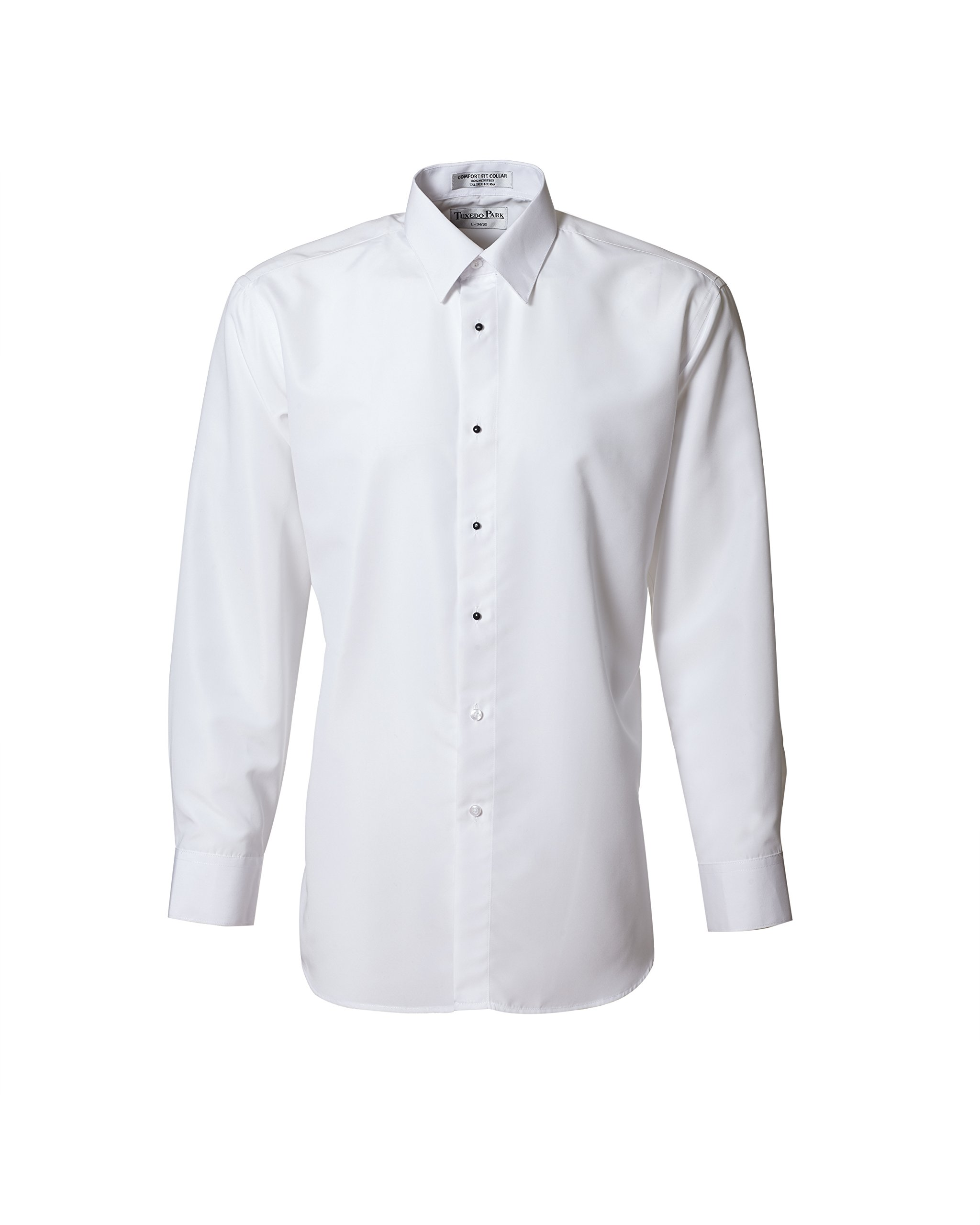 White Microfiber Non Pleated Standard Collar Tuxedo Shirt by Tuxedo Park