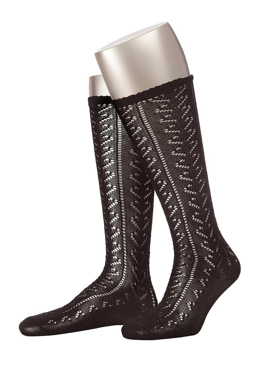 Trachten Damen Kniestrümpfe - L380N - schwarz, weiß
