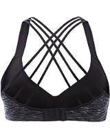 V for City Women's Strappy Running Sports bra Yoga sports bra Medium Impact Sports bra
