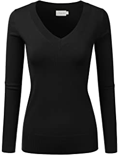 af96ca1170 JJ Perfection Women s Stretch V-Neck Long Sleeve Sweater w Button ...