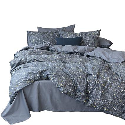 Vm Vougemarket  Cotton Luxury Bedding Set Pieces Universe Stars Printed Duvet Cover