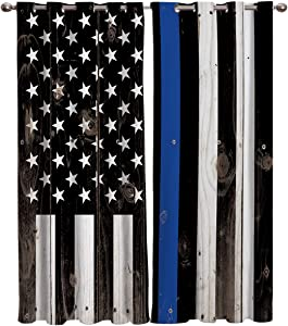 "T&H Home Thin Blue Line Police Curtains Set, Honor Law Enforcement USA Vintage Flag Window Curtain, 2 Panels Curtain for Sliding Glass Door Bedroom Living Room, 80"" W by 84"" L"