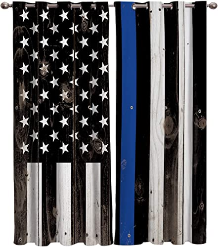 T H Home Thin Blue Line Police Curtains Set
