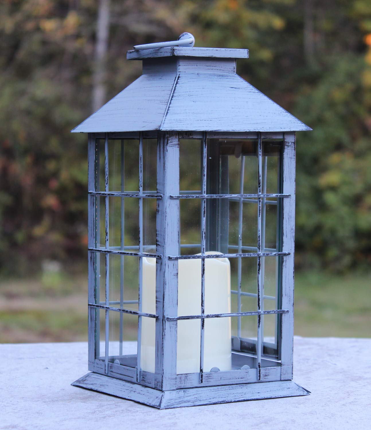 Seraphic Country Style Gray Rustic Metal Lantern with Flickering Flameless LED Candle, Case of 6 by Seraphic (Image #3)