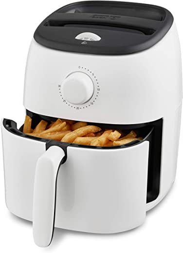 Dash DCAF200GBWH02 Tasti Crisp Electric Air Fryer Oven Cooker with Temperature Control, Non-stick Fry Basket, Recipe Guide + Auto Shut Off Feature, 1000-Watt, 2.6Qt, White