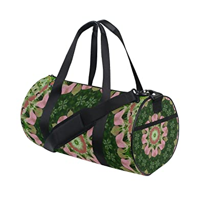 215e92a56a Image Unavailable. Image not available for. Color  AURELIOR Pink And Green  Mandala Flower Gym Duffle Bag Drum tote Fitness ...