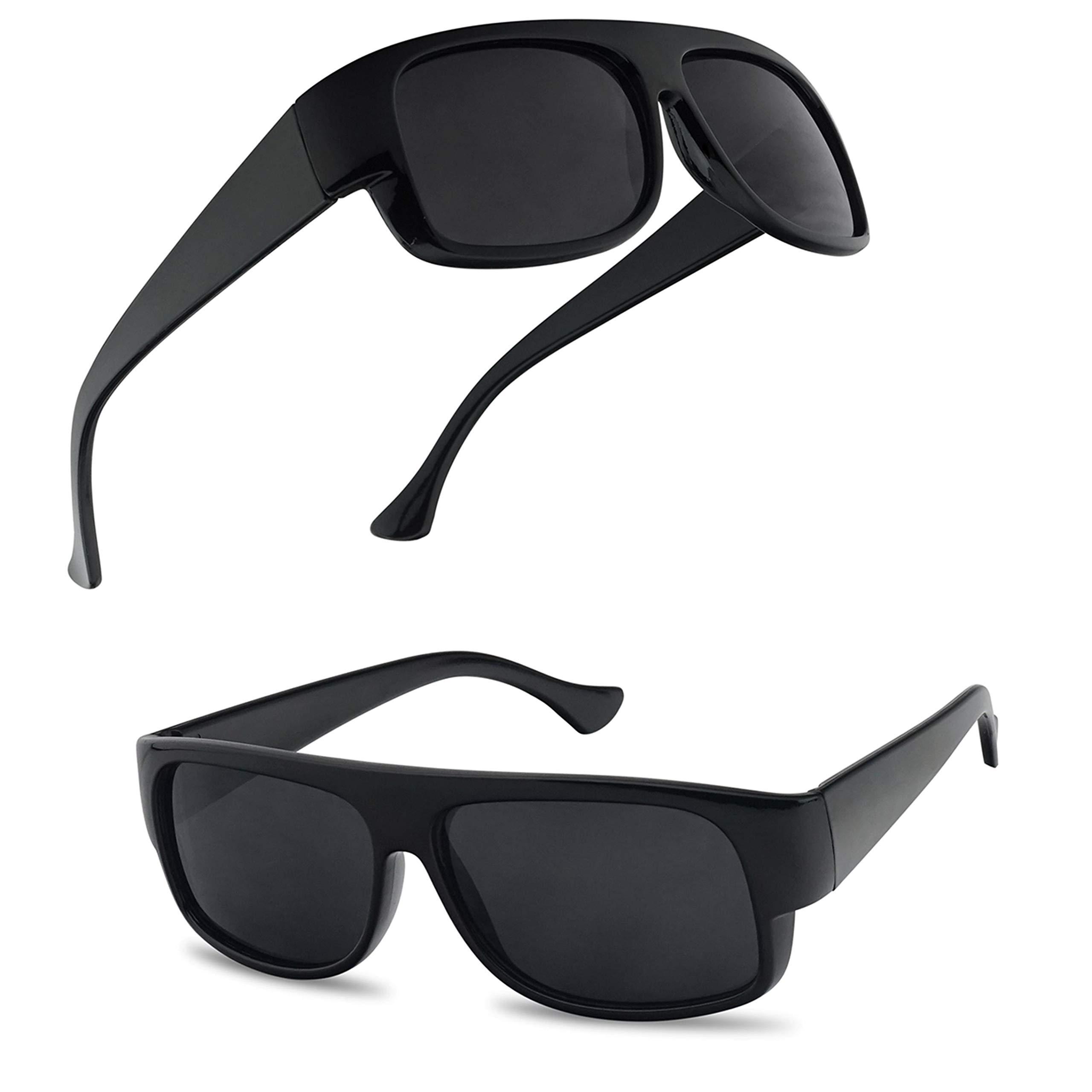 SunglassUP Classic Old School Eazy E Square Flat Top OG Loc Sunglasses (2-Pack Black) by SunglassUP