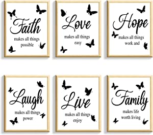 Nuanchu 6 Pieces Faith Hope Love Laugh Family Live Wall Art Prints Posters, Motivational Wall Decor,Wall Art for Bedroom and Living Room, Waterproof Posters for Home Office School Teen Dorm Room