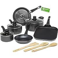 Ecolution Easy Clean Non-Stick Cookware, Dishwasher Safe Pots and Pans Set, 12 Piece, Black