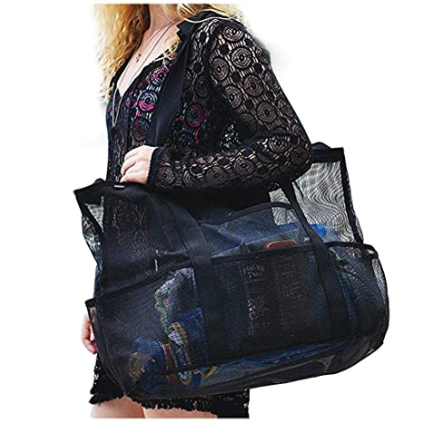 74796f19d492 Extra Large Mesh Beach Bags Durable Lightweight Foldable Carry Tote Bag  with Pockets and Zipper for Towels Picnic Toy