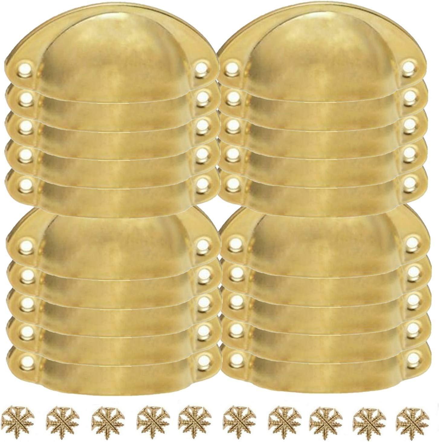 LESOLEIL 20 PCS Vintage Maniglie Conchiglia Porta Cassetto Armadietto Manopole Ferro Shell Coppa Tazza Semicerchio Maniglia Pull Manopola 8.2 cmx3.5 cm Oro