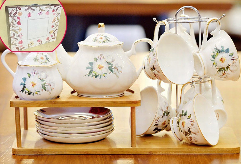 PLLP European Tea Set Home Afternoon Tea Set Ceramic Coffee Cup Set English Tea Cup Wedding Gift,B