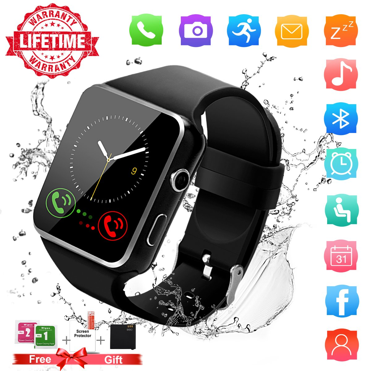 Smart Watch,Bluetooth Smartwatch Touch Screen Wrist Watch with Camera/SIM Waterproof Phone Smart Watch Sports Fitness Tracker for Android iPhone IOS Samsung Huawei Sony for Kids Women Men (X6-Black)