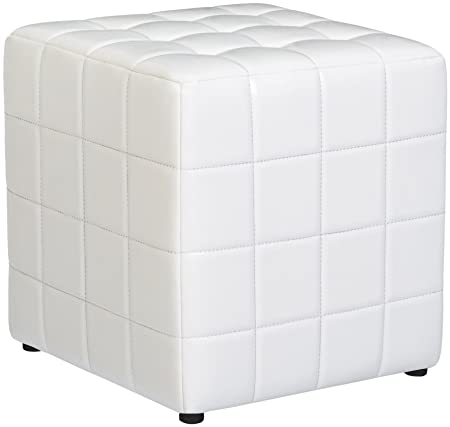 First Hill Altair Square Faux-Leather Ottoman – Moonlight White