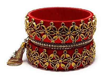 55a450484 VAB red Silk Thread Bangles for Women (2.4): Amazon.in: Jewellery