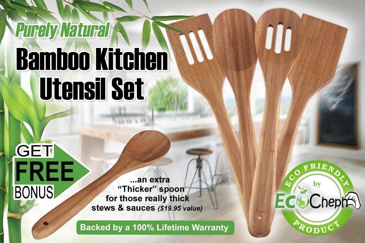 Amazon.com: EcoCheph 4 Piece Eco Friendly Non Scratch Natural Bamboo  Utensil Set: Kitchen U0026 Dining