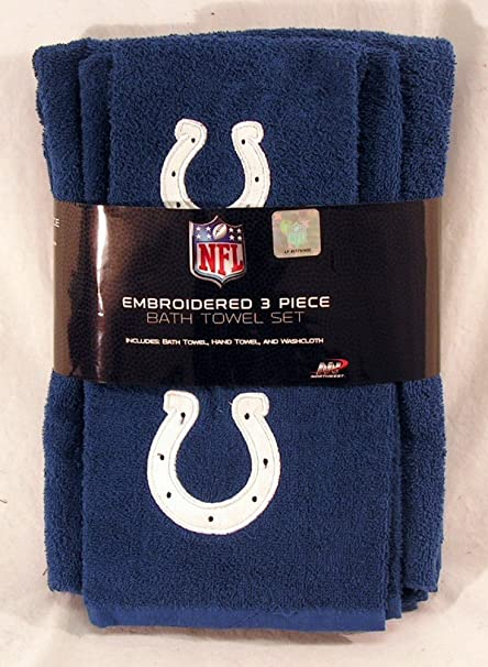 0ce25b26 Indianapolis Colts NFL 3 PC Embroidered Bath Towel Set WHITE Horseshoe