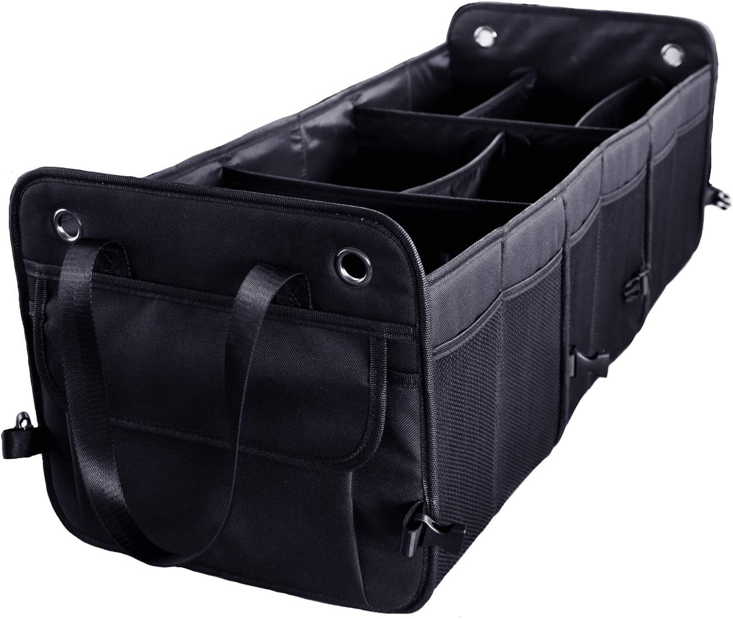 Cutequeen Black Trunk Organizer Back Seat Protector Storage Organizer Multi Compartments Collapsible Portable for SUV Car Truck Auto