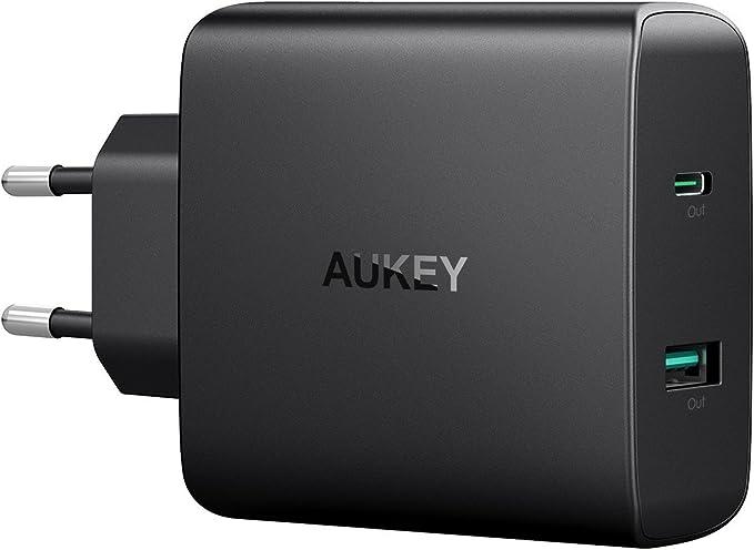 AUKEY USB C Cargador 56.5W Cargador rápido de 2 puertos con 46W ...